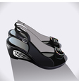 shoes black patent leather vector image vector image