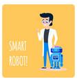 smart robot machine with human scientist cartoon vector image