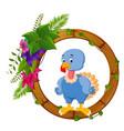 turkey bird on round wood frame vector image vector image