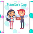 valentines day poster boy going to present girl vector image