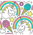 seamless pattern with unicorn rainbow clouds vector image