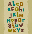 Grunge colorful font Hand written doodle alphabet vector image