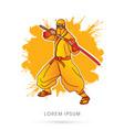 yellow ninja and sword vector image