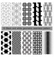 10 black and white geometric seamless pattern vector image