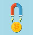 a huge magnet attracting money vector image