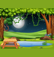 a nature scene at night vector image vector image