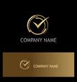approve check mark gold logo vector image vector image