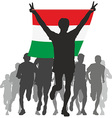 Athlete with the Hungary flag at the finish vector image vector image
