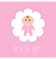 Baby shower card Its a girl Flower frame Flat vector image
