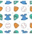 baseball seamless pattern catcher helmet gloves vector image vector image