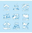 Big Set of hand drawn christmas or winter vector image