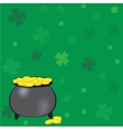 Black pot of leprechauns gold with lucky clovers vector image