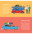 Buying a car for the family Cartoon poster vector image