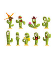 cactus characters sett funny cacti with different vector image vector image