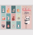 calendar 2020 with animals cute forest vector image