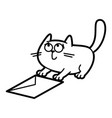 cat cartoon character coloring page black and vector image vector image