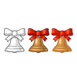 christmas gold bell with red bow vintage vector image