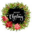 christmas wreath of red poinsettia and leaves vector image vector image