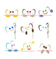 Colorful smiley faces with ears and paws vector image vector image