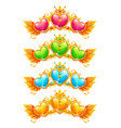 cool golden banners with colorful crystal hearts vector image vector image