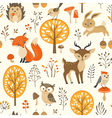 Cute autumn forest pattern vector image vector image