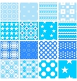 Cute blue seamless patterns Endless vector image vector image