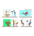 different characters at movie making production vector image