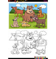 dogs animal characters group color book page vector image vector image