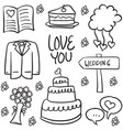 doodle of element wedding various vector image vector image