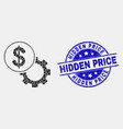 dotted dollar setup gear icon and scratched vector image vector image