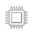 electronic integrated circuit top view outline vector image