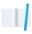 Exercise book with ruler vector image vector image