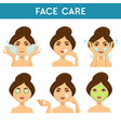 face care woman applying different masks and vector image vector image