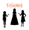 fashion woman silhouette in summer dresses vector image vector image