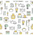 flat line art kitchen seamless pattern vector image vector image
