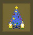 flat shading style icon christmas tree santa claus vector image vector image