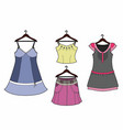 four clothes on hangers vector image vector image