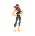 funny brave pirate standing with hands on his hips vector image vector image