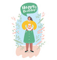 girl with a birthday cake vector image vector image