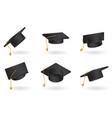 graduation cap set univercity education hat vector image