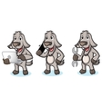 Gray Goat Mascot with laptop vector image vector image
