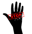 Hand raised with stop sign vector image vector image