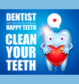 helthy tooth cartoon character stomatology design vector image vector image