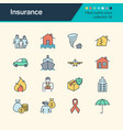 insurance icons filled outline design collection vector image vector image