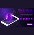 isometry icon blockchain bitcoin crypto currency vector image vector image