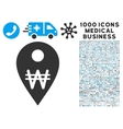 Korean Won Map Marker Icon with 1000 Medical vector image vector image