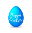 lettering happy easter on blue egg with shadow on vector image vector image