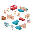 living and dining room furniture set in colorful vector image vector image