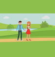 lovely couple on date in park vector image vector image