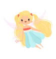 lovely little winged fairy with blonde long hair vector image vector image